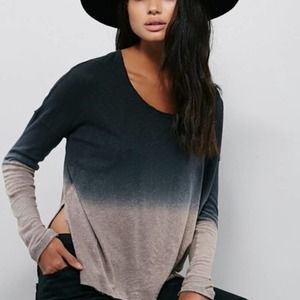 NWT Free People $68 Ombre Long Sleeve Top Women's SMALL Raw Hem Side Slits